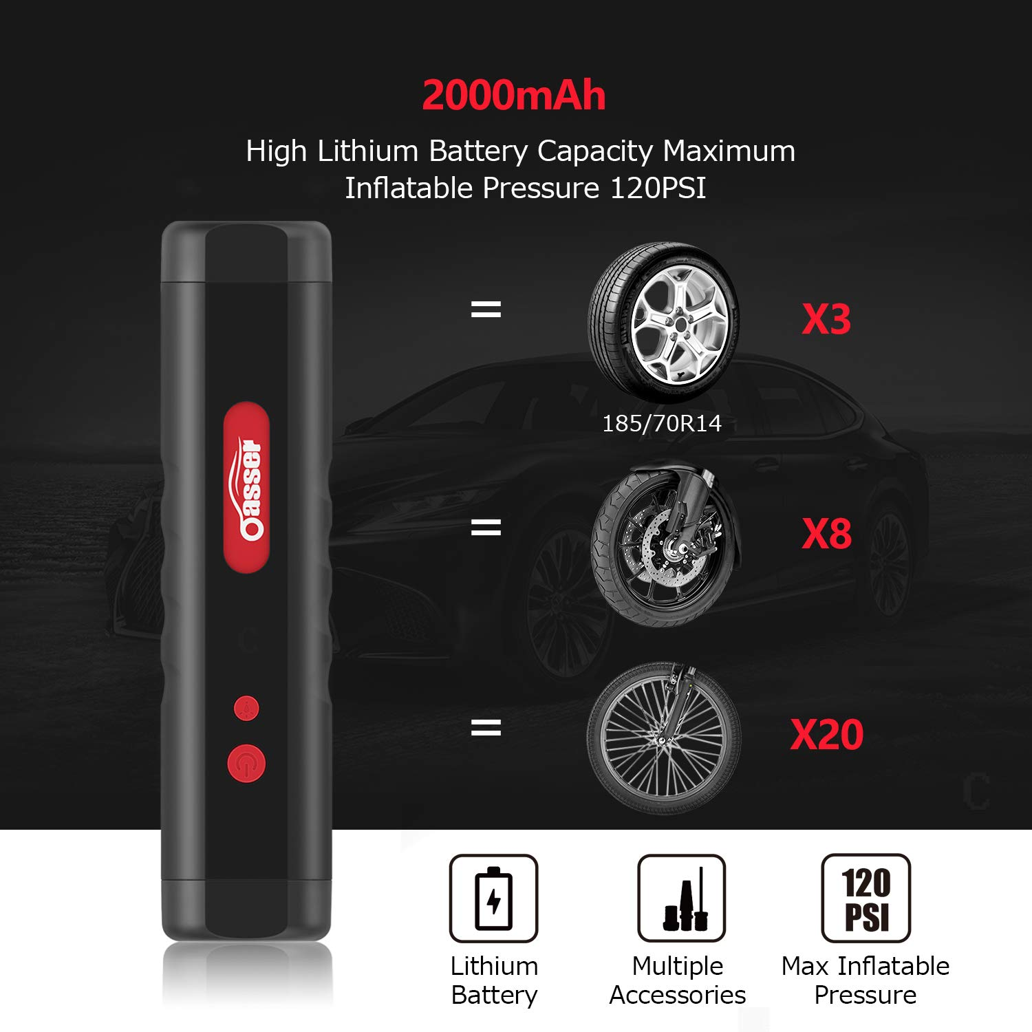 Oasser Air Compressor Portable Mini Air Inflator Hand Held Tire Pump 2000mAh with Digital LCD LED Light 12V AC DC Lithium Battery 120PSI 20Litres/Min for Car Bicycle Tires and Other Inflatables P1S by Oasser (Image #3)
