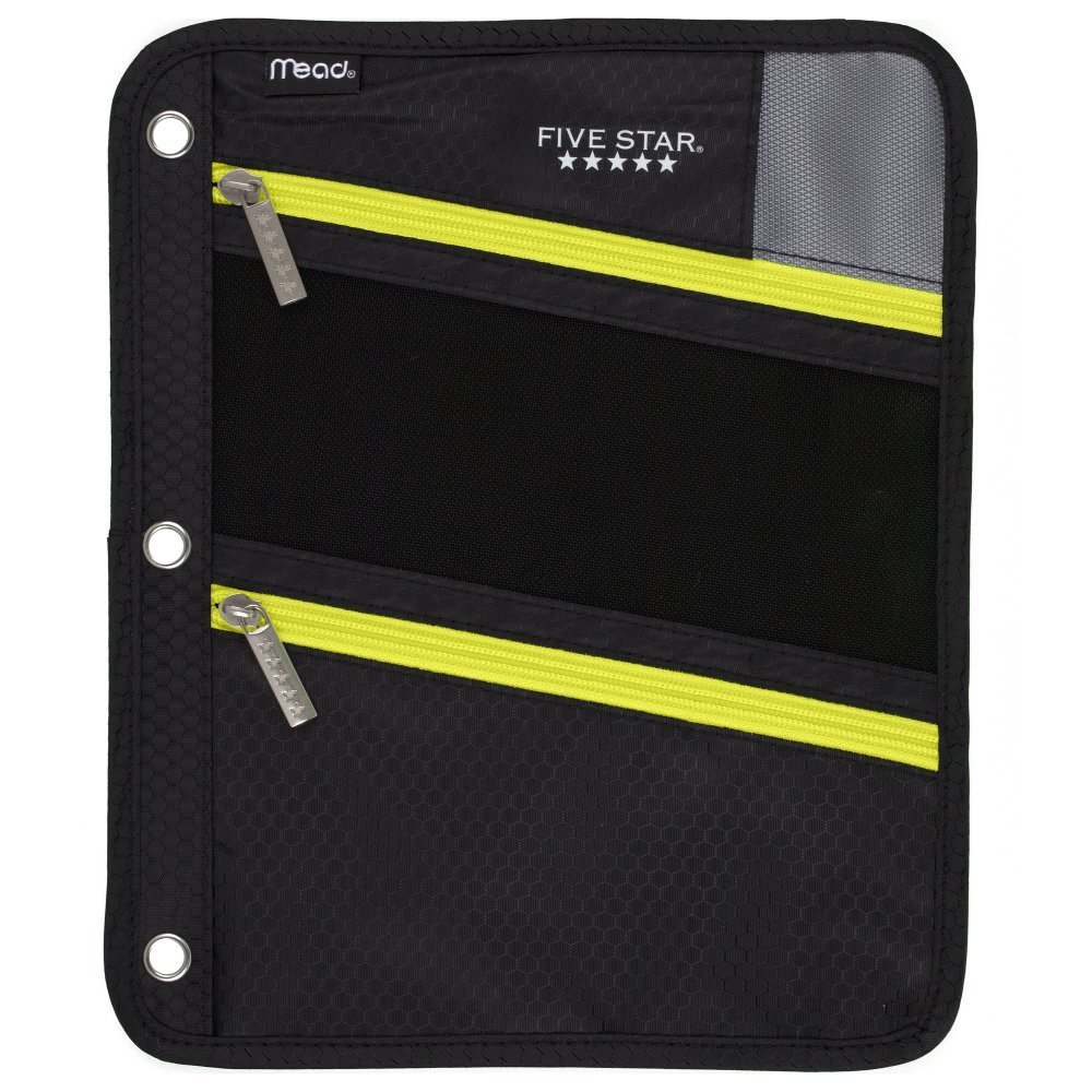 Five Star Zipper Pouch, Pencil Pouch, Pen Holder, Fits 3 Ring Binders, Black/Yellow (50642BB7)