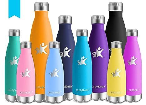 KollyKolla Botella de Agua Acero Inoxidable, Termo Sin BPA Ecológica, Botellas Termica Reutilizable Frascos Térmicos para Niños & Adultos, Deporte, ...