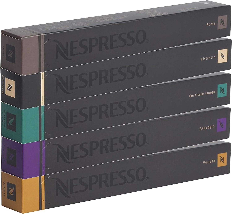 Nespresso - Cápsulas originales - Café surtido, 50 cápsulas – 10 Café Roma - 10 Café Ristretto - 10 Café Fortissio - 10 Café Arpeggio - 10 Café Volluto – Cápsulas compatibles Nespresso