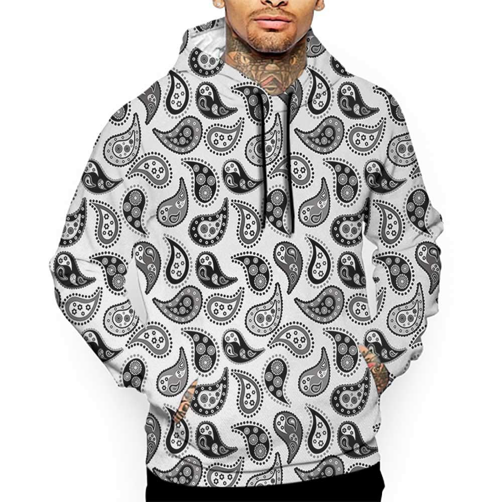 Unisex 3D Novelty Hoodies Paisley,Design in Different Types with Flowers Circles and Tiny Teadrops Detailed Art,Grey and Black Sweatshirts for Girls