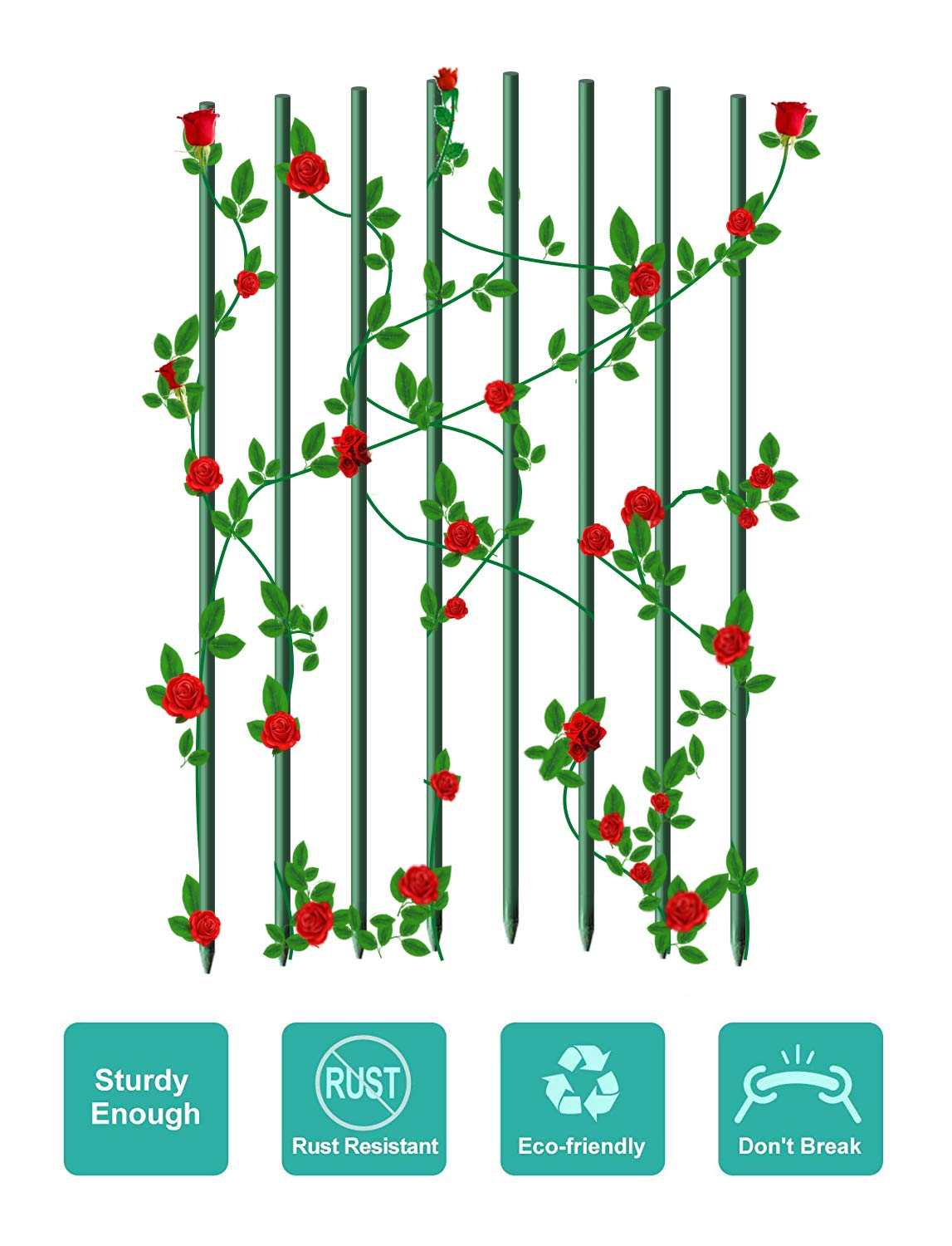 """EcoStake Garden Stakes 1/4"""" Dia 4 FT FRP Plant Supporting Stakes for Climbing Tomato Cucumber Strawberry Bean Tree, Pack of 8, Dark Green"""