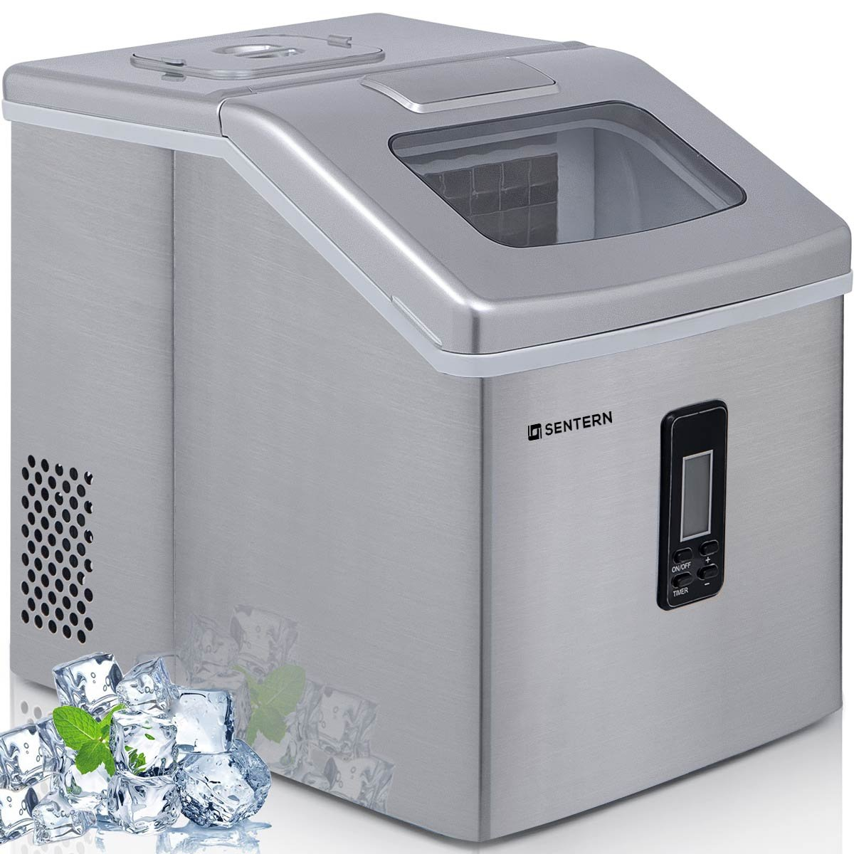 Sentern Portable Electric Clear Ice Maker Machine Stainless Steel Countertop Ice Making Machine 2.4 lbs Ice Storage 48 lbs Per Day (Silver.) Merax