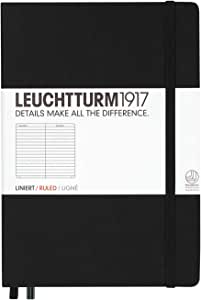 Leuchtturm1917 Medium A5 Ruled Hardcover Notebook (Black) - 249 Numbered Pages