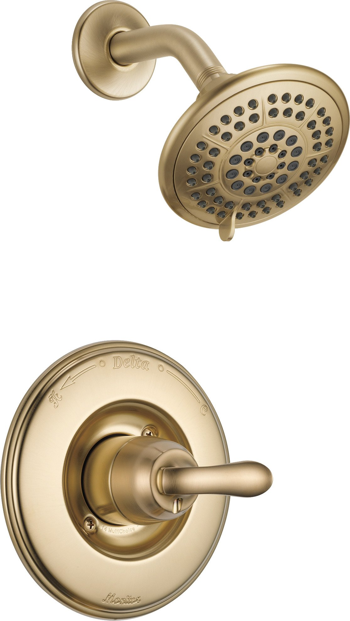 Delta T14294-CZ Linden 14 Series Single-Function Shower Trim Kit with 5-Spray Touch Clean Shower Head, Champagne Bronze (Valve Not Included) by DELTA FAUCET