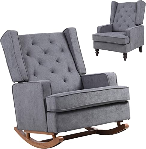 Cheap Dolonm Nursery Rocking Chair Upholstered Mid Century Modern Rocker Oversized Wingback Armchair living room chair for sale