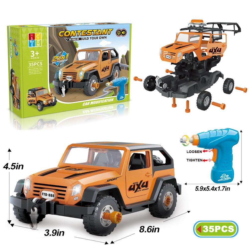 Limei STEM Jeep Car Toy Take Apart Toy Car Off Road Vehicle with Electric Drill Building Car Toy Set with Realistic Lights and Sound for Toddler Kid Baby Supply by Noble Toys Factory