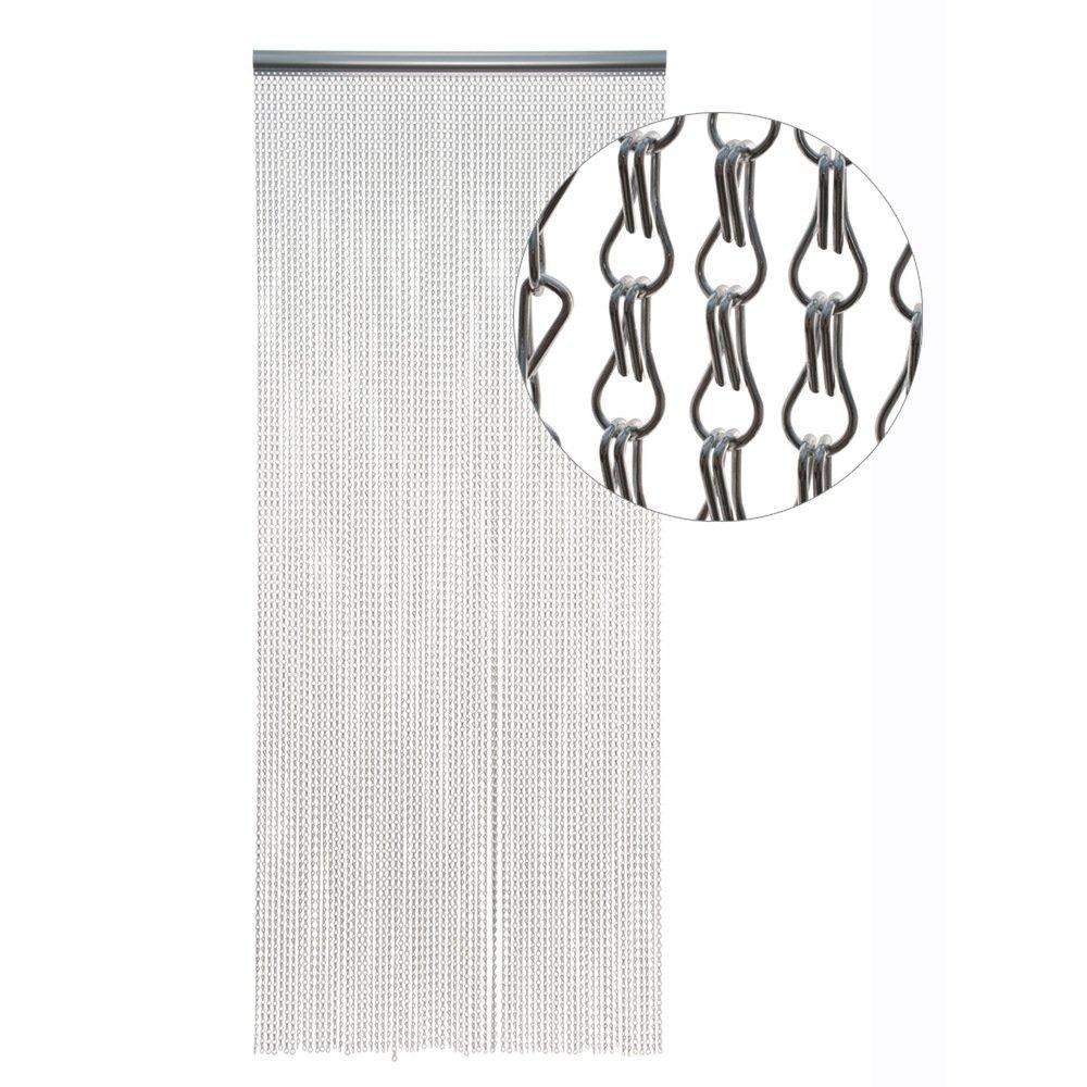 HAB & GUT -DV01412- Türvorhang Metallglieder, Silber, Aluminium, 115 x 220 cm Alukette