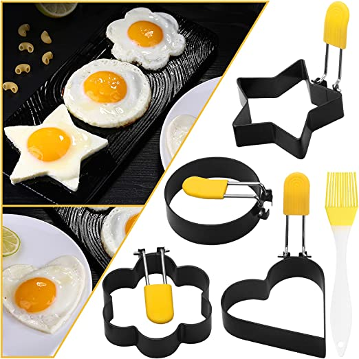 Egg Ring, Stainless Steel Egg Cooking Rings, Frying Egg Mold with Anti-Scald Handle, 4 Pack Round Heart Star Flower Shaped Non-Stick Egg Ring Mold.