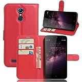 Custodia HOMTOM HT17 Case, VIFLYKOO Custodia Flip Cover in Pelle PU Case Portafoglio con Built-in Card Slot per HOMTOM HT17 Smartphone Cover - Rosso
