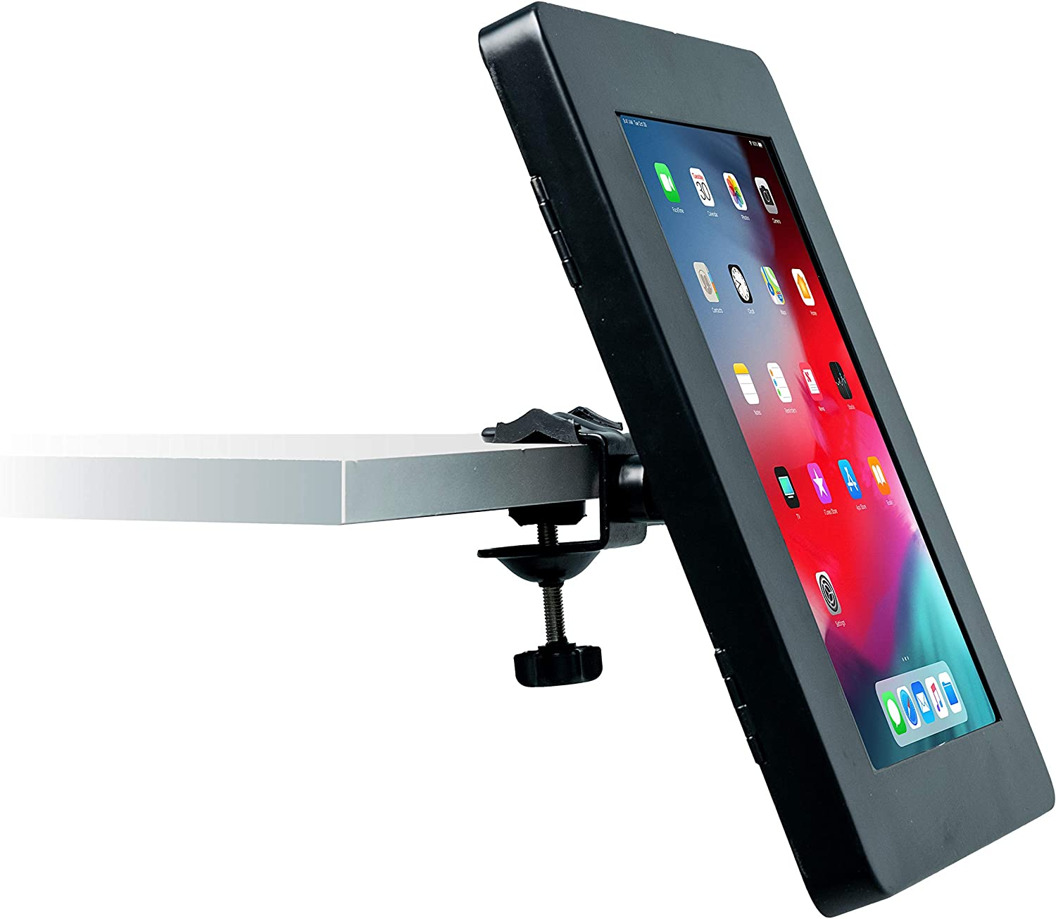 CTA Digital: Premium Locking No-Drill Shelf Mount for iPad 10.2-Inch (7th & 8th Gen.), iPad Air 3, 11-Inch iPad Pro, Galaxy Tab S3, iPad Gen. 6 & 5, and More, Black