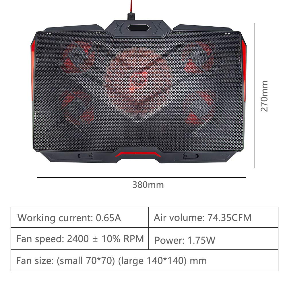 LINGSFIRE Laptop Cooling Pad 12-17inch Ultra Quiet Laptop Cooler Stand Notebook Cooling Fan Chill Mat for Gaming Laptop with 5 Fans, Red LED Lights, 2 USB Ports, 8 Adjustable Height (Black) by LingsFire (Image #6)