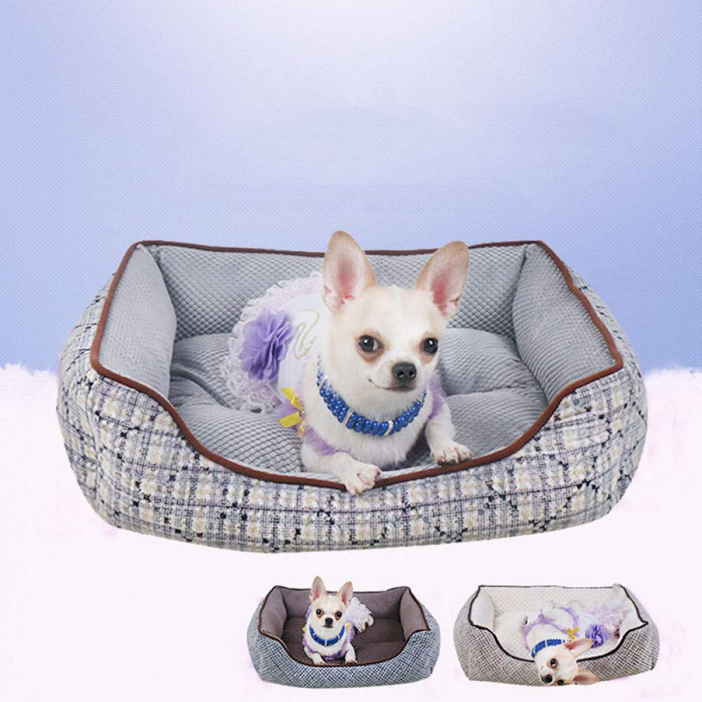 Aigou Dog Bed Winter Warming Pet Dog Bed Mats Cushion Soft Washable Plaid Flannel Puppy Kitten Waterproof Sofa Kennel For Small Medium Dog Cat