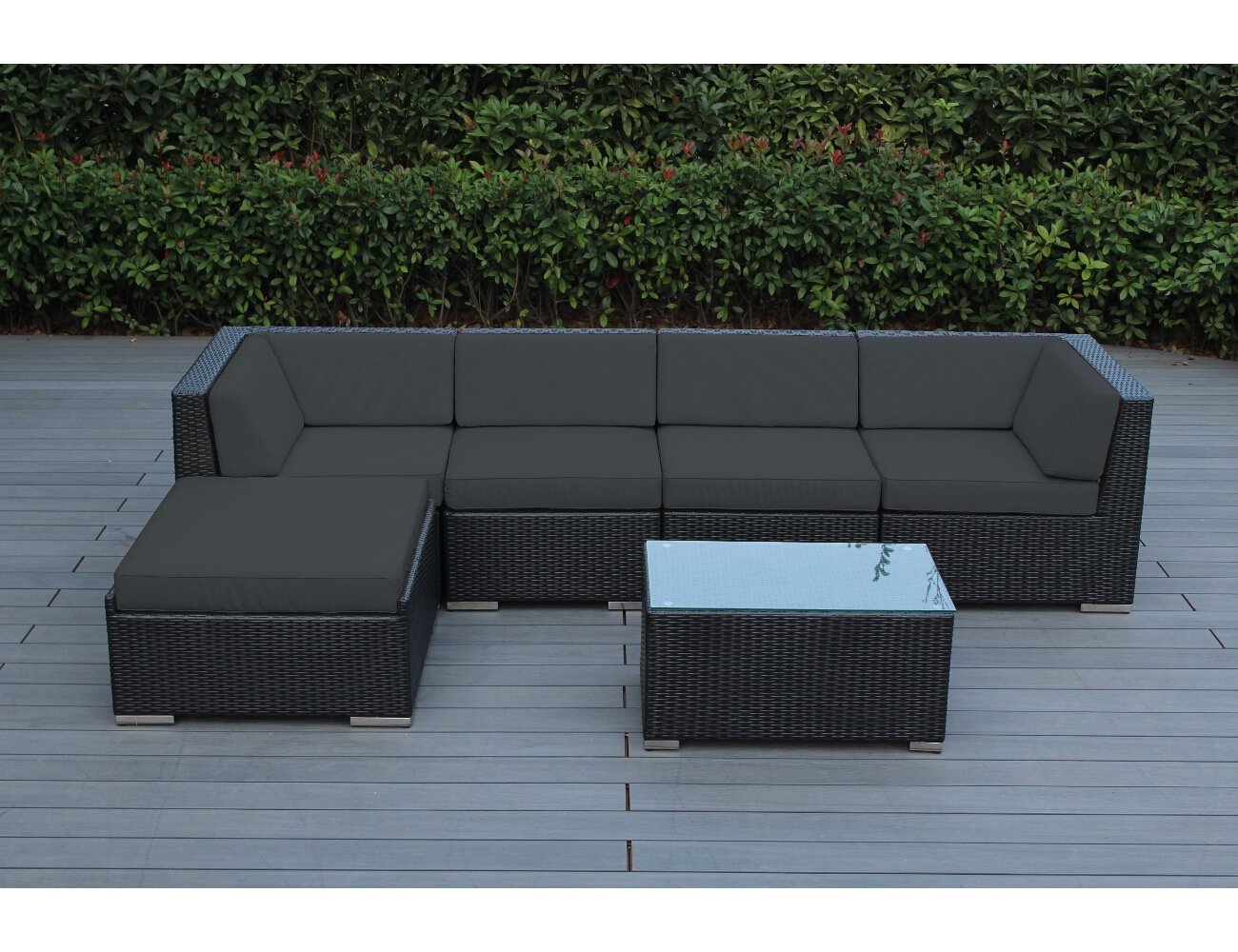 Genuine Ohana Outdoor Patio Wicker Furniture 6pc Sofa Set (Dark Gray) - All Weather PE Resin Wicker Couch Set provides a modular design, which enables flexibility with many configuration options. 6pc set includes 2 Corner Sofas + 2 Middle Sofas + 1 Large Ottoman + 1 Coffee Table Fade Resistant Cushion Covers come with zipper for easy cleaning. - patio-furniture, patio, conversation-sets - 71lXTQwdasL -