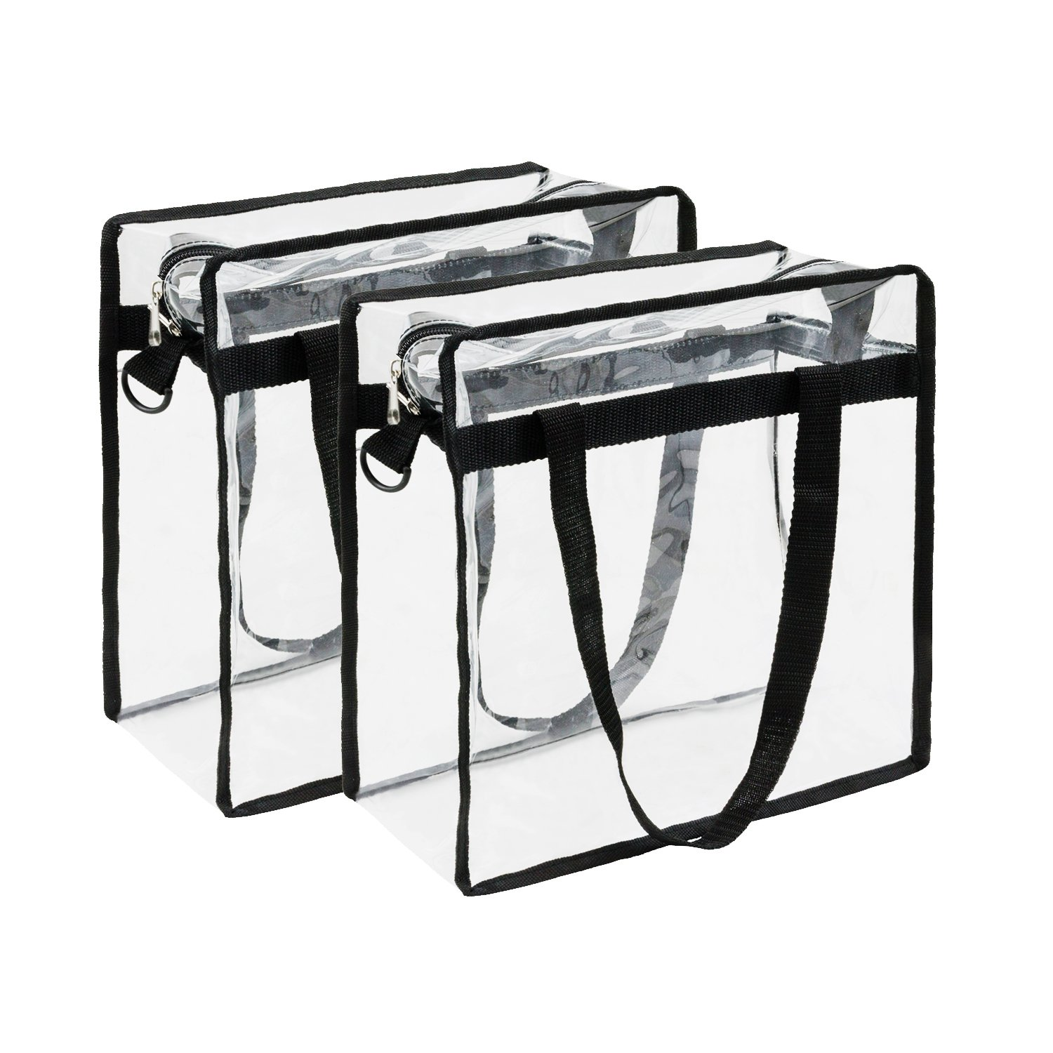 Housebles Stadium Tote Bag, Clear PVC Vinyl Bags, 12x12x6, 2 Pack, Clear, Plastic, Heavy Duty Transparent Handbag, Zipper Totes, NFL Approved Gear, For Game, Gym, Work, Lunch