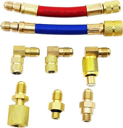 HSeaMall Juego de 8 adaptadores de Manguera de Refrigeraci/ón R134A R12 para Coche y Aire Acondicionado