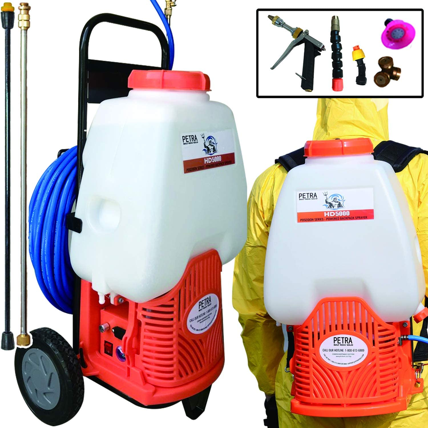 Petra Powered Backpack Sprayer with Custom Fitted Cart and 100 Foot Commercial Hose, 2 Hoses Included, Commercial Quality Heavy Duty Sprayer 6.5 Gallon Cart Sprayer