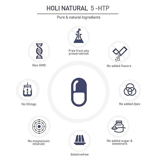 5-HTP. 90 cápsulas. Dosis diaria de 300mg (3 cápsulas). PURO 5-hidroxitriptófano de extracto de semilla de Griffonia. Vegano. Sin estearato de Magnesio.