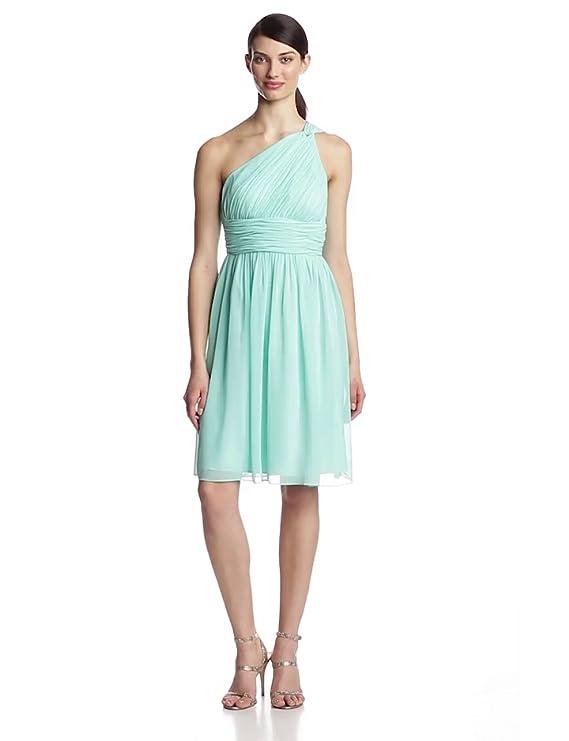 7d7bf6c8466b Donna Morgan Women's Rhea Short One Shoulder Dress at Amazon Women's  Clothing store: Purple Dress