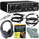 Behringer U-Phoria UMC202HD Audiophile 2x2 USB Audio Interface and Deluxe Bundle w/ Home Recording Guide + Pro Headphones + Adapter + Cables + Fibertique