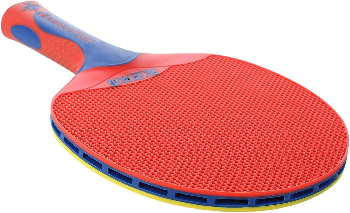 Raqueta de Tenis de Mesa de plástico de Doble pez para Ping Pong (Rojo y Amarillo) ESjasnyfall