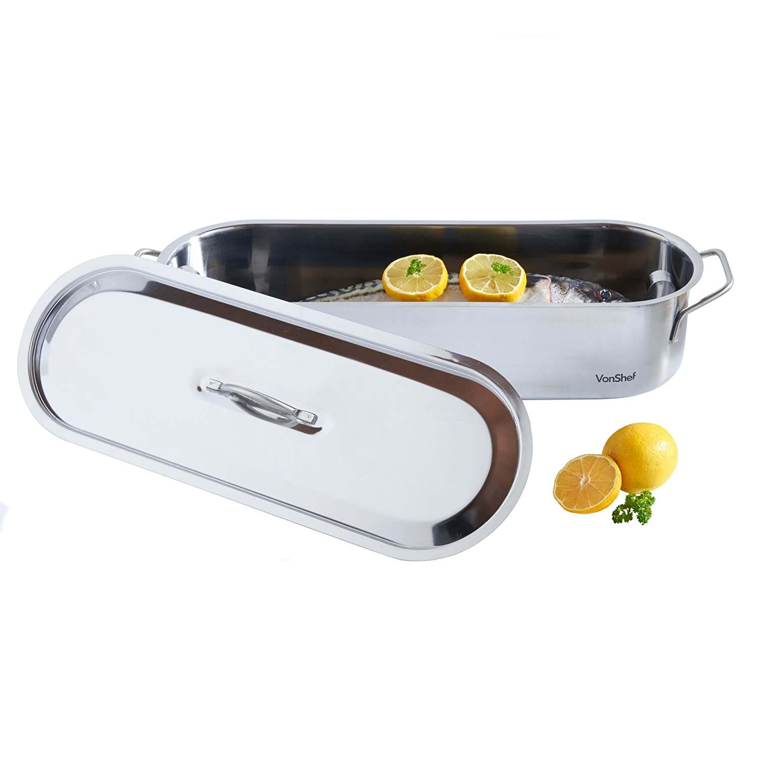 VonShef Fish Poacher Steamer Pan Kettle 18