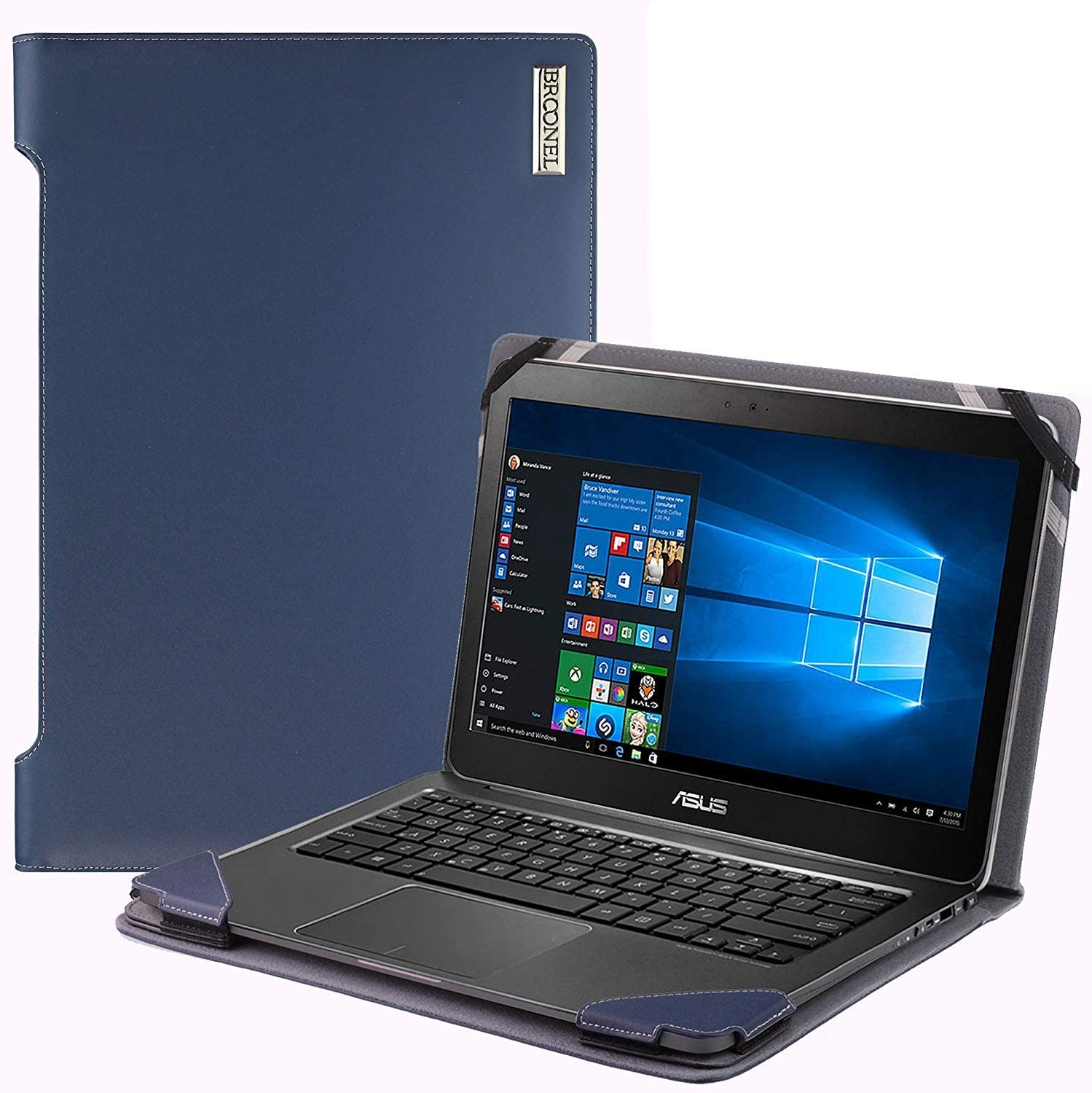 """Broonel - Profile Series - Blue Leather Laptop Case Compatible with The Acer Aspire 1 A114-32-C1YA, 14"""""""
