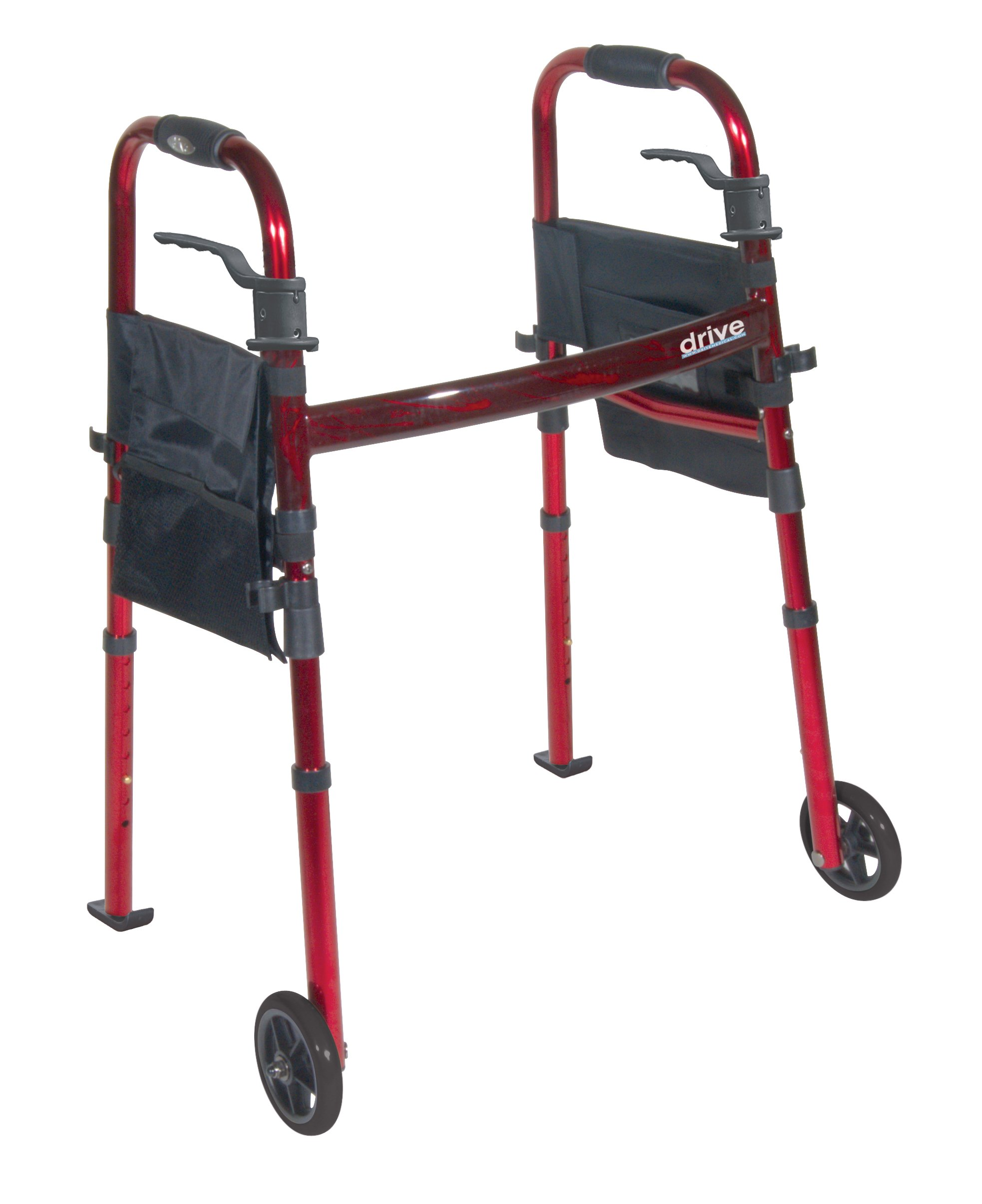 Drive Medical Deluxe Portable Folding Travel Walker with 5'' Wheels and Fold up Legs, Red
