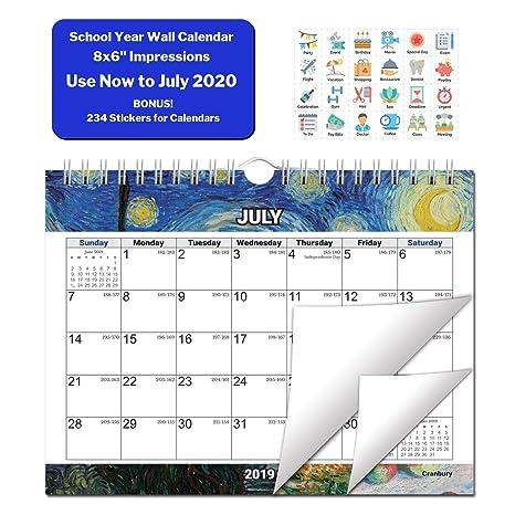Amazon.com: Calendario de pared pequeño 2020, calendario ...
