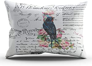 MUKPU Romantic French Victorian Tree Bird Love Letters Home Decor Sofa Pillowcase 12X24 Inch Lumbar Throw Pillow Case Hidden Zipper Single-Sided Printed