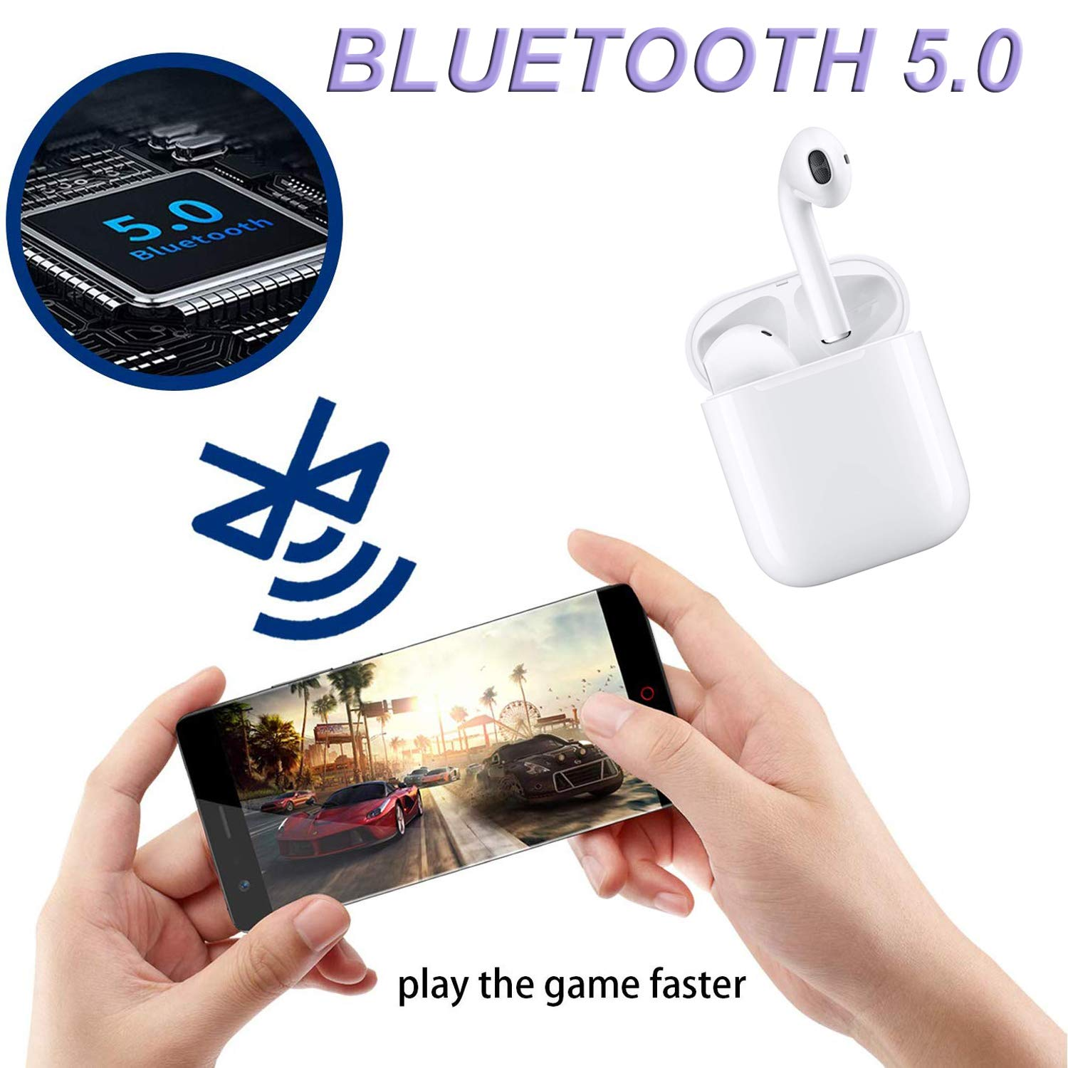Touch AIRYXKJ Bluetooth 5.0 Wireless Earbuds, Noise Canceling Sports Headphones, IPX5 Waterproof HiFi Stereo Earphones in-Ear Built-in Mic Headset for iPhone Samsung Android Apple Airpods white-01