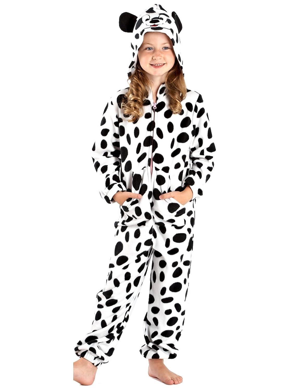 SaneShoppe Mä dchen Kuh und Hund drucken weiche warme Kapuzen Fleece Jumpsuit Lounge Wear