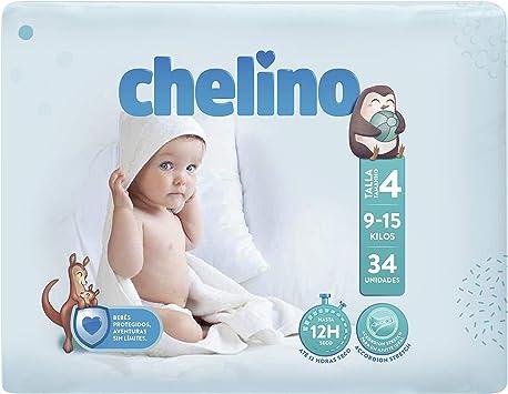 Chelino Fashion & Love - Pañales para bebés con un peso comprendido entre 9 y 15 kilos, Talla 4, pack de 34: Amazon.es: Salud y cuidado personal