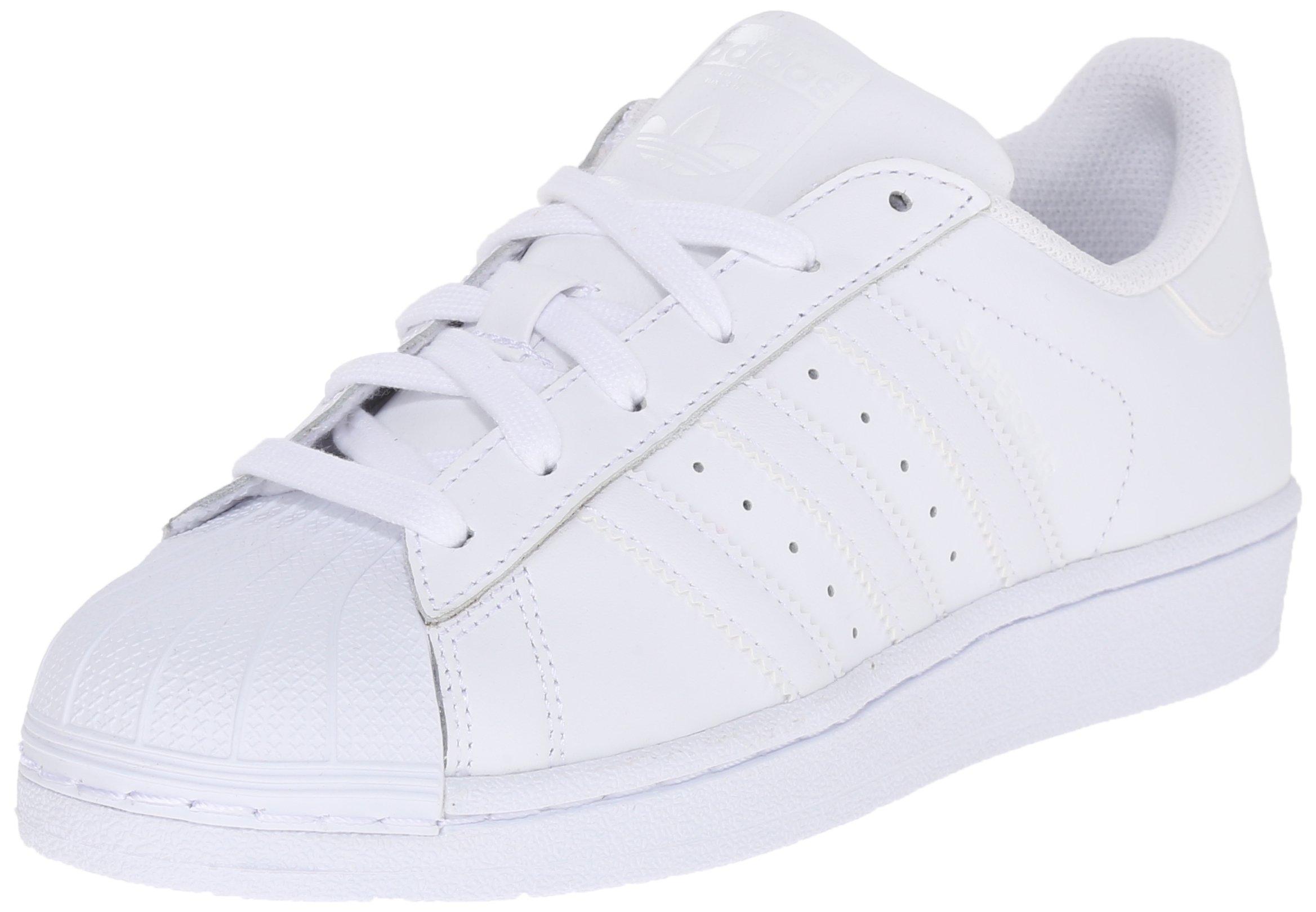 adidas Originals Superstar Foundation J Casual Basketball-Inspired Low-Cut Sneaker (Big Kid),White/White/White,4.5 M US Big Kid