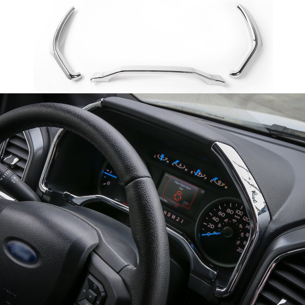 Chrome Silver ABS Car Dashboard Instrument Strips Cover Trim Interior Decoration Stickers for Ford F150 2015 Up