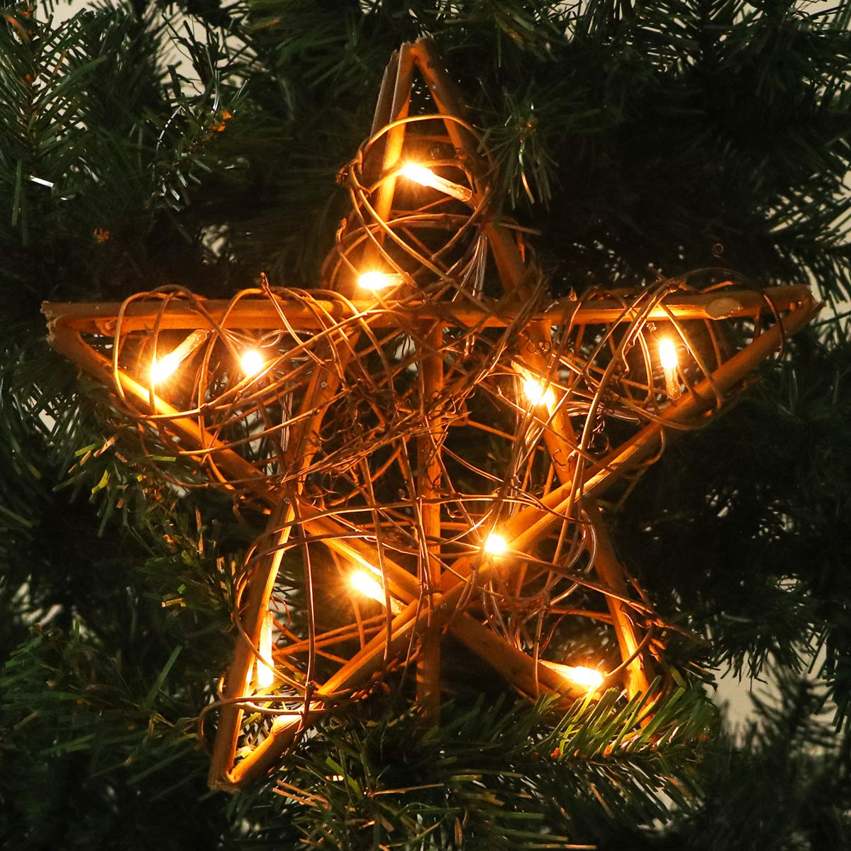Newbea 10 Led Lights Christmas Star Tree Topper Rattan Rustic