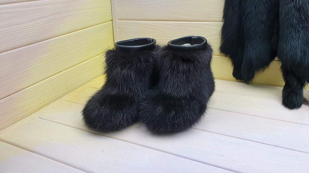 Children's fur winter boots,muskrat fur