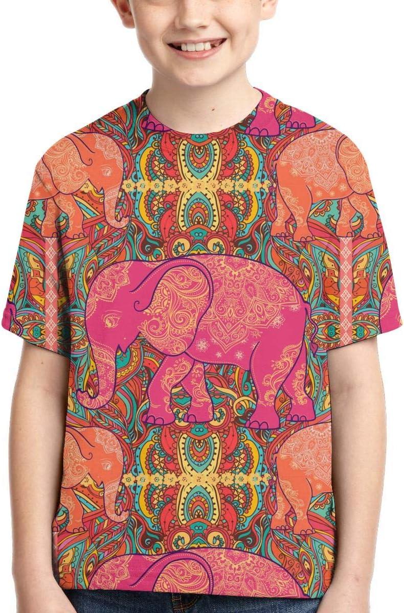 Quguangyan 3D Indian Elephant Vintage Style Texture Boys T-Shirt Short Sleeve Child Tee