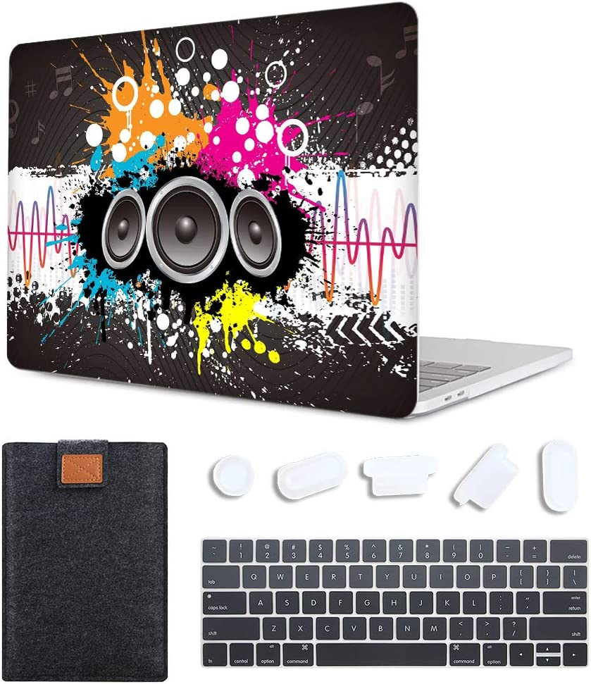 MAITTAO 4 in 1 Bundle Older MacBook Pro 13 inch Case 2012-2015 Release,Plastic Pattern Hard Shell & Laptop Sleeve & Keyboard Cover for Mac Book Pro 13 Retina Display A1502 A1425, Creative Graffiti 1