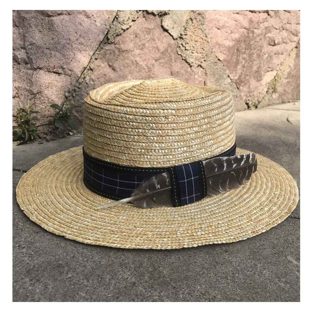 MUMUWU Sunscreen Lady Sun Hat Straw Men's Straw Beach Hat Summer Feather Decoration Color Jazz Viso Bowling Cap (Color : 1, Size : 56-58CM)
