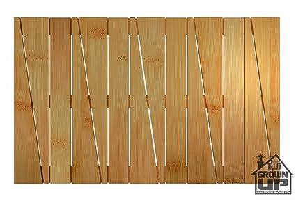Bamboo Deluxe Shower Floor And Bath Mat ~ Skid Resistant ~ Heavy Duty Bamboo  Floor Rug