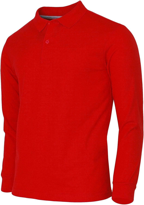 BCPOLO Men's Polo Shirt Cotton Pique Polo Shirt Long Sleeve Polo Shirt-red L: Clothing