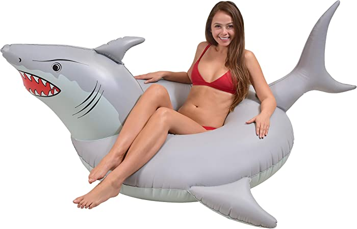 GoFloats 'Great White Bite' Shark Party Tube Inflatable Raft | Fun Swimming Pool Floats for Adults and Kids