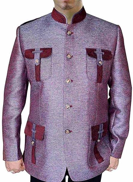 INMONARCH Hombres rosa palo Nehru estilo caza yute 5 Botón-2 Pc NS147B: Amazon.es: Ropa y accesorios