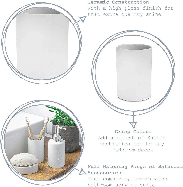 Harbour Housewares Vaso para cepillos de Dientes Cer/ámica esmaltada Gris y Blanco