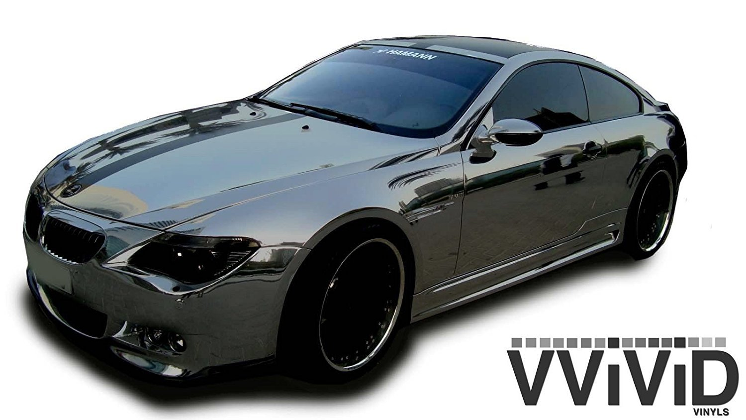 VViViD8 Black mirror chrome vinyl car wrap 3ft x 5ft self adhesive film decal air release bubble-free with Free Tool Set Kit Included