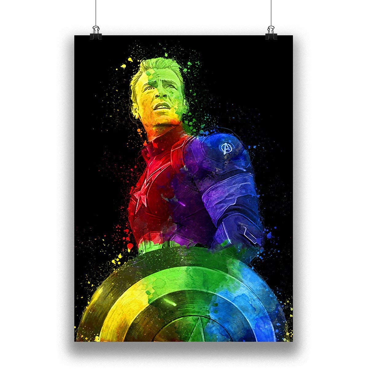 Captain America Marvel Superhero Abstract Colourful Painting Home Decor Bedroom Game room Gift Ideas The Avengers Infinity Wars Movie 100/% Cotton Paper Poster
