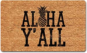 Funny Mat with Rubber Back (30 x 18 inch) Aloha Y'all Pineapple Welcome Doormat for Entrance Way Decorative Mats for Front Door Mat No Slip Kitchen Rugs and Mats