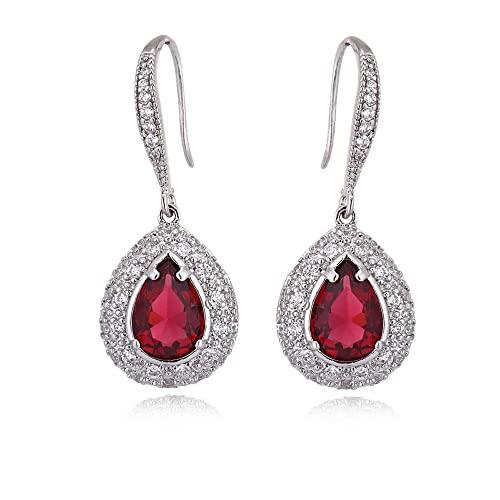Ruby Dangle Earrings for Women - Silver Bridal Teardrop Red Crystal Cubic  Zirconia Rhinestone Drop Earrings dae192e1aeca