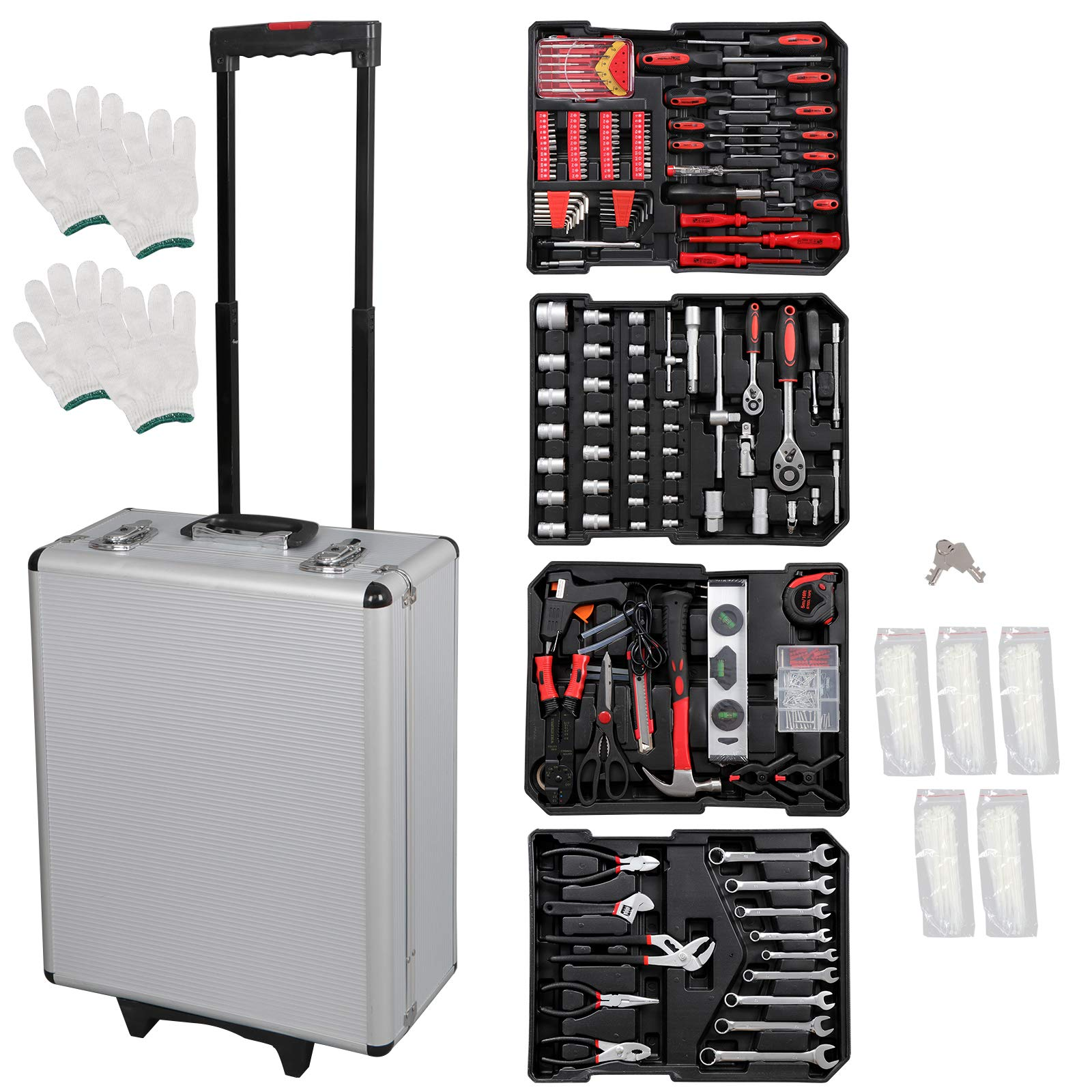 F2C 799 Piece Pro/Home DIY Mechanics Hand Tool Kit Set Auto General Repair Tools W/Portable Aluminum Trolley Storage Wheeled Case Tool Chest Organizer Box by F2C (Image #8)